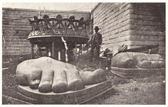 Statue of Liberty pieces being uncrated on Liberty Island, 1885 #vintage #nyc