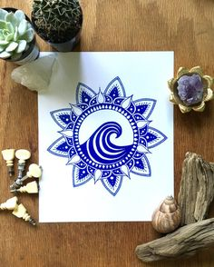 Blue Mandala Wave/ Gifts for him / Gifts for him / by kbcolor