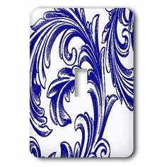 3dRose Blue and White Large Flourish, 2 Plug Outlet Cover