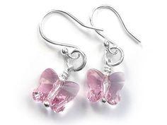 Silver Earrings - Swarovski Butterflies Blush