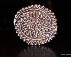 Talladas a mano textil madera India sello bloque - motivo Floral