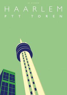 De PTT toren van Haarlem als grafische kunst aan de muur. Strak, modern en uniek.