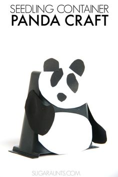 Panda puppet craft made from recycled seedling containers!