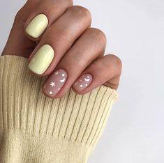 Yellow Nails, Pink Nails, My Nails, Pastel Yellow, Gold Nails, Cute Acrylic Nails, Cute Nails, Pretty Nails, Pastel Nail Art