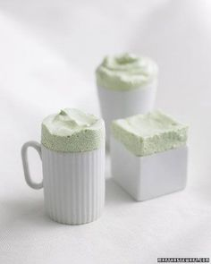 These pillowy souffles are frozen and served in tiny porcelain dishes. The desserts are less fragile than baked souffles and can be made a day in advance. #matcha #dessert #souffles