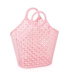 Sun Jellies jelly bags - Vintage style plastic shoppers, baskets and the French Original jelly shoes Pink Tote Bags, Tote Purse, Pink Handbags, Tote Handbags, Vintage Style Outfits, Vintage Fashion, Jelly Bag, Plastic Baskets, Jelly Shoes