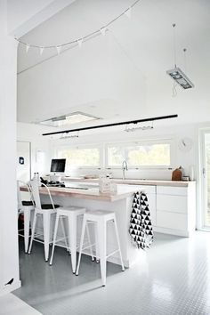 Neutral Kitchen Designs Design Ideas : Black And White Decoration Interior Ideas For Modern Kitchen With Wooden Counter And Industrial Bar Stools Also Cabinetry Pictures Neutral Kitchen Designs, Modern Kitchen Design, Interior Design Kitchen, Bar Interior, Interior Modern, Interior Ideas, Minimal Kitchen, Küchen Design, House Design
