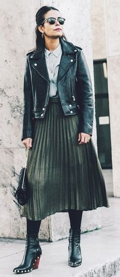 leather. leather skirt. #streetstyle More