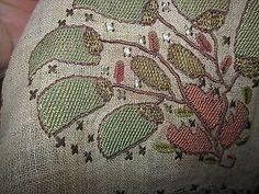 ANTIQUE OTTOMAN TURKISH TOWEL* METALLIC & SILK DUO-EMBROIDERY on  LINEN