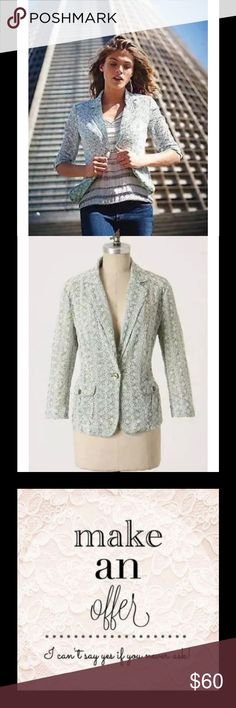 "Anthropologie Elevated Eyelet Blazer Mint Floral $128 Anthropologie Taikonhu Elevated Eyelet Blazer Mint Pink White Floral Sz 8   ""Twining lace grows atop crisp voile, providing airy avenues for the sun to shine through to your tees or tanks. By Taikonhu.  Front pockets  Button closure  Cotton  Machine wash"" Soft light slightly-dusty-mint green with pink accents and white threading on eyelet detail Anthropologie Jackets & Coats Blazers"