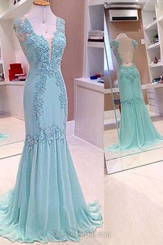 Blue Prom Dress, Long Prom Dresses, Mermaid Evening Dresses, Chiffon Party Dresses, Open Back Formal Dresses