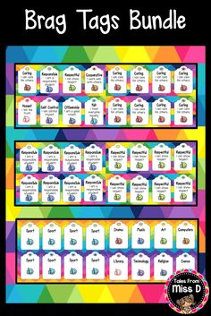 Reward your students with these Brag Tags! This Bundle comes with Behavior and Subject Brag Tags. Brag Tag Behaviors include; caring, responsible, respectful, cooperative, honest, self control, citizenship, fair, great listener, best effort, quiet worker, on task, hard worker, great sharer, independent learner, question asker as well as blank templates to write your own. Subjects include; English, Writing, Math, Science, History, Geography, PE, Sport, Drama, Music, Art etc. © Tales From…