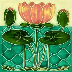 art_nouveau_lily_pad_square_coaster.jpg?color=White&height=460&width ...