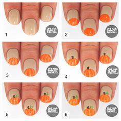 DIY Pumpkin Nails nails fall diy craft nail art nail trends diy nails diy nail art easy craft diy fashion manicures diy nail tutorial halloween nails autumn nails easy craft ideas teen crafts home manicures