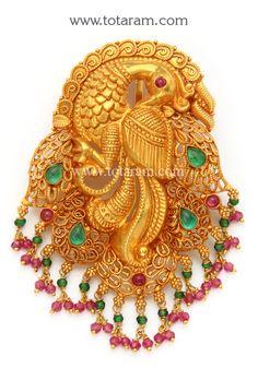 22K Gold 'Peacock' Pendant (Temple Jewellery)