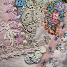I ❤ crazy quilting & embroidery . . . Block 61 on the I Dropped the Buttonbox Quilt. Lots of people respond  to block 61 as they like the little lace ballerina. This block forms part of a lighter band that runs diagonally down the quilt. ~By SharonB, PinTangle