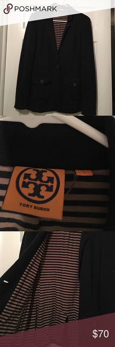 Tory Burch Blazer Navy blue wool blazer with cotton lining. Inside is navy blue and oatmeal striped. Heavy blazer, very warm! Worn maybe twice. Tory Burch Jackets & Coats Blazers