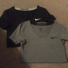 Nike dri fit shirt One gray and one Black form fitting Nike Tops