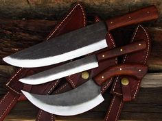 ( WB KNIVES ) HAND FORGED KITCHEN KNIVES SET OF 3 PCS WITH SHEATHS NO DAMASCUS #WBKnives