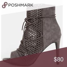 """Peep Toe Booties •FIRM PRICE - NO OFFERS PLEASE• •NO TRADES• ❣NOT ELIGIBLE FOR BUNDLES❣     Gray peep-toe heeled ankle booties    Cut out details & lace up front    Faux suede    Approximate 4"""" heel height  - Boutique items are still in bag from manufacturer & stock photos are exact item; will not be removed from packaging for additional photo requests - Shoes Ankle Boots & Booties"""