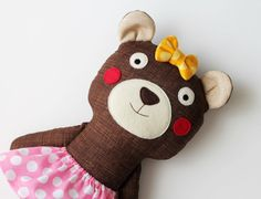Little sister handmade bear. Stuffed toy bear with a pink skirt and yellow bow. Brown bear. Gifts for children.