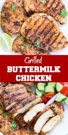 Chicken Breast marinated in Buttermilk, garlic, herb, spice marinade and grilled to perfection. This Easy Grilled Chicken Breast With Buttermilk Marinade is super moist and Juicy. Best for a quick weeknight dinner or for summer barbecues.  #chickendinner  #chickenrecipes #grilling #Summerbarbecue #easydinner #barbeque