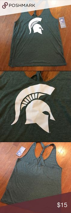 Michigan State Spartans racerback tank top L large Michigan State Spartans racerback tank top L large pro edge knights apparel. GO GREEN GO WHITE. NWT new with tags college university wear Tops Tank Tops