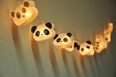35 Ampoules Cutie Panda mûrier guirlande lanternes en papier pour décoration de fête de mariage