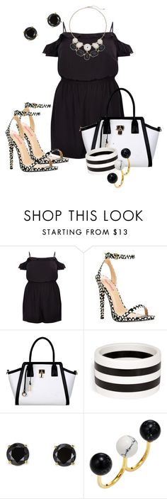 """""""Date Night B&W"""" by hope-houston ❤ liked on Polyvore featuring New Look, JustFab, R.J. Graziano, Jardin and Noir Jewelry"""