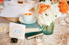 Aqua  & Orange Modern Vintage Wedding  - Bridal Musings Wedding Blog