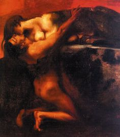 """The Kiss of the Sphinx,"" c.1895 by Franz Von Stuck (German, 1863-1928)"
