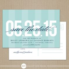 Bold Date Personalized Wedding Save the Date Postcard / Magnet / Flat Card - CUSTOMIZE Colors and Content
