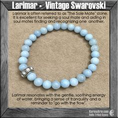 Larimar aides in soul mates finding and recognizing each other. It will heal negative karma between soul mates and lovers. This stone opens honest communication between soul mates. #love #yogabracelet #spiritualjewelry #spiritual #jewelry  #bracelet #yoga #fashion #yogabracelets #style #armcandy #bead #beaded #mala #womens #mens #healing #goodluck #lucky #luck #Hope #buddha #manifest #lifestyle #luxury #energy #friendship #crystals #crystals #soulmate #blue
