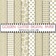Gold digital paper patterns  gold backgrounds with by SvetaNDesign