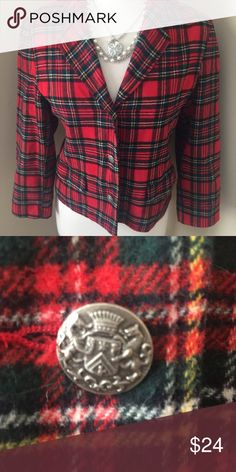 Gap Red Plaid Blazer Super details and fit in this GAP jacket. Size is XL/TG which is a child's 12, but this fits an adult size small perfectly. Bold red plaid with three ornate crest buttons down the front and two on the sleeves. Two functional pockets on the front and a slit in the back. This jacket will add instant value to your wardrobe this fall and many more to come. GAP Jackets & Coats Blazers