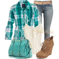 """""""Teal Flannel & Lace"""" by casuality on Polyvore"""