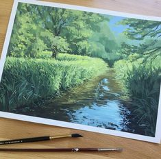 Gouache Painting, Painting & Drawing, Art Drawings, Art Sketches, Nature Artists, Guache, Hayao Miyazaki, Landscape Paintings, Landscapes
