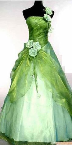 green prom dress... Maybe without the roses on the strap?
