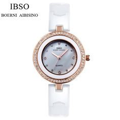 IBSO High Quality Ceramic Strap Watch Women Brand Luxury Women Watches 2017 Crystal Diamonds Fashion Ladies Watches Montre Femme