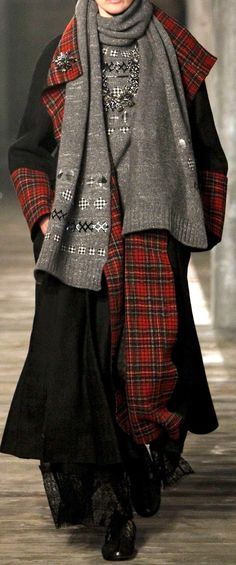 #layers long dress with long coat and plaid and grey knit scarves Chanel Pre-Fall 2013