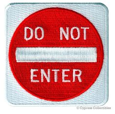 NO PEDESTRIANS SIGN embroidered PATCH TRAFFIC STREET ROAD SIGN iron-on applique