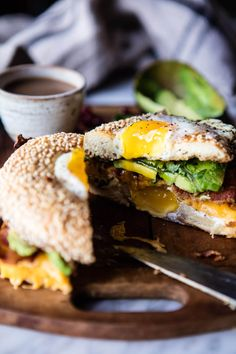 Egg in a Hole Avocado, Bacon, Egg and Cheese Bagel   halfbakedharvest.com @hbharvest