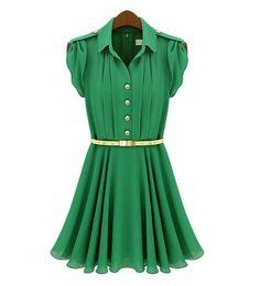 Stylish Flouncing Buttons Decor Short Sleeve Dress @ MayKool.com