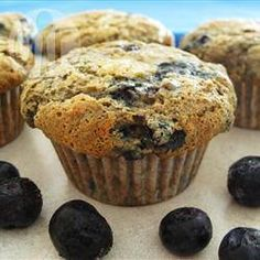 Health Nut Blueberry Muffins Recipe - Whole wheat flour, oats and wheat germ lend a hearty texture to these delicious muffins. An awesome healthy alternative to the usual blueberry muffin. Blueberry Bran Muffins, Blueberry Zucchini Bread, Blue Berry Muffins, Zucchini Muffins, Healthy Muffins, Whole Wheat Flour, Wheat Germ, Thing 1, Healthy Baking