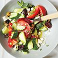 Cucumber, Tomato and Feta Salad.  I can't wait to try this with goodies from my parents' garden! Made it.  It was good, but definitely as a side dish!  So, make it to share!