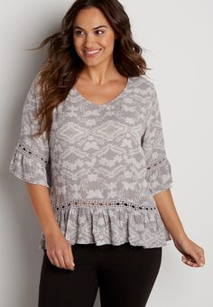 plus size peasant top in butterfly print with strappy back (original price, $39.00) available at #Maurices