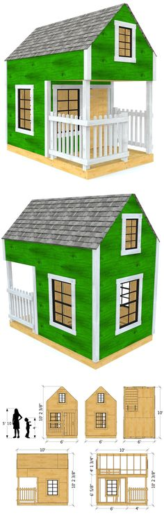 """The """"Green"""" playhouse plan features two levels, with a front porch and over haning loft area.  Over 100 square feet of play space with a 6' x 10' foot print.  Download a copy and start building today!"""