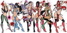 Mortal Kombat fan-art by *CrimsonseaSonya. Blade, Kitana, Sindel, Mileena, Jade and Skarlet