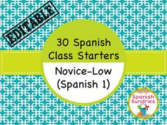 These 30 Spanish Bell Ringer Activities will get your Novice-Low students (Spanish I, Semester 1) ready to work as soon as the bell rings!  Created in Power Point for display or easy printing.  Teacher Index of all activities included.These are great for daily review or for end of the semester/year review!If you like this product, click below to check out similar products also available in this store:Spanish Class Starters:  40 Novice-Mid Warm UpsSpanish Class Starters:  50 Novice-High Warm…