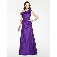 A-line One shoulder Floor-length Taffeta Bridesmaid Dress With Flower(s) – USD $ 129.99